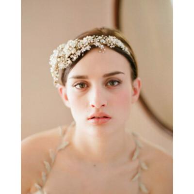 F-0724 Elegant Bride Crowns Pearl Crystal Flower Wedding Tiara Bridal Hair Accessories