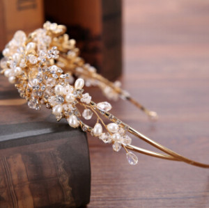 F-0724 Elegant Bride Crowns Pearl Crystal Flower Wedding Tiara Bridal Hair Accessories