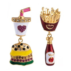 E-5652 2020 Halloween Funny Vintage Crystal Cute Food Hamburger French Fries Drop Earrings For Women Girl Dangle Earring Female Fashion Jewely
