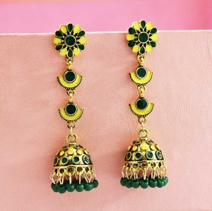E-5653 2020 Trendy Six Colors Beads Gold Bell Tassel Earrings For Woman Jewelry Accessory