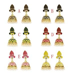 E-5654 New fashion Painted Ethnic Wind Tassel Earrings Bohemia Tourism Memorial Retro Pearl Earrings Jewelry Accessory