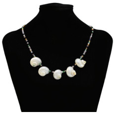 N-7333 Bohemian Natural Sea Shells Pendant Necklace Acrylic Beads Chain Necklace Women Handmade Summer Jewelry