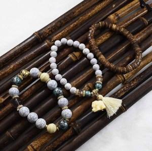 B-0839 3 Pcs/Set Bohemian Acrylic Beaded Bracelets  Pendant For Women Charming Jewelry Accessory