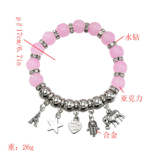 B-1013 High-quality natural opal crystal single-layer beaded retro silver bracelet exquisite ball  bracelet Jewerly for women