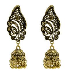 E-5658 Vintage Gold Alloy Jhumka Earrings Carved Flower Women Boho Bells Tassel Earring Indian Jewelry