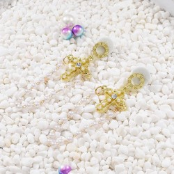 E-5659 Fashion Gold Pearl Rhinestone Cross Pendant Stud Earring For Women Ear Piercing Jewelry