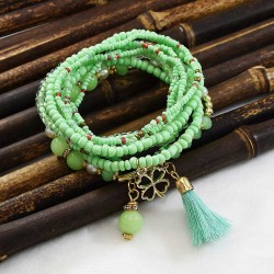 B-1014 9 Pcs/Set Bohemian fashion Multi-layer rice bead bracelet Spring summer Pendant For Women Charming Jewelry Accessory