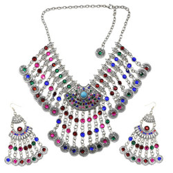 N-7334 Bohemian Jewelry Set Hollow Out Coin Tassel Necklace Earring Set Ethnic Ornament