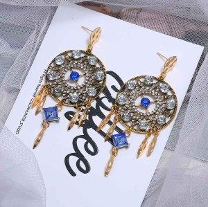 E-5664 Elegant blue rhinestone Acrylic Stone Round Drop Earrings Crystal Loop tassel Pendant Dangle Earrings for Women Party Jewelry