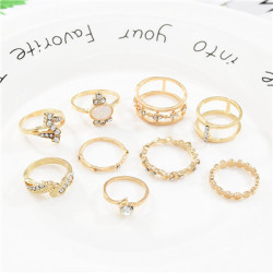 R-1518 3 Styles Retro Rhinestone Star Ring Set Hollow Carved Ring for Woman