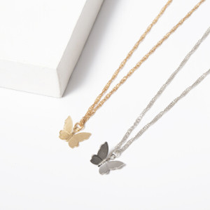 N-7336 E-5665 Fashion Gold Silver Metal Butterfly Pendant Necklace & Earring Sets for Women Wedding Party Jewelry Set