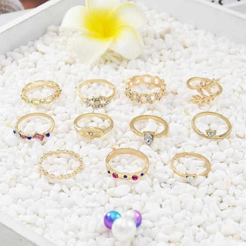 R-1519 3 Styles New Trendy Gold Rhinestone Pearl Ring Set Hollow Carved Ring for Woman Jewelry Gift