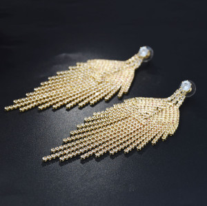 E-5229 * Full Rhinestone Long Tassel Wedding Earrings