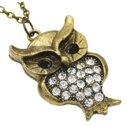 N-2567 Rhinestone Pendants Owl Necklace For Women Crystal Vintage Gold Color Long Necklaces Fashion Jewelry Christmas Gift