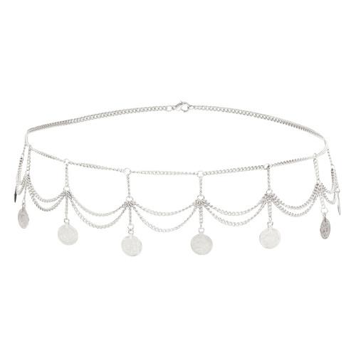 N-7279 * Silver Gold Waist Chain for Women Coin Tassel