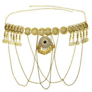 N-7281 * Turkish Gypsy Gold Metal Handmade Long Chain Tassel Body Chain Waist Chain
