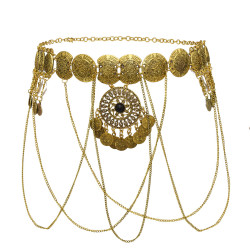 N-7281 * Turkish Gypsy Gold Metal Handmade Long Chain Tassel Body Chain Waist Chain