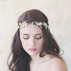 F-0627*Fashion New Hand-woven Pearl Rhinestone Bridal Headdress Wedding Photography Hair Accessories
