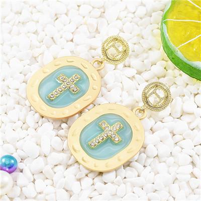 E-5666 Fashionable New Style Diamond Cross Earrings with Diamond Wedding Accessories