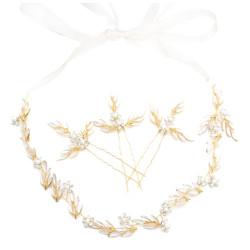 F-0508*1 Set Gold Metal Leaf Shape Headbands Hairpins Pearl Crystal Bridal Headpiece Wedding Hair Accessories
