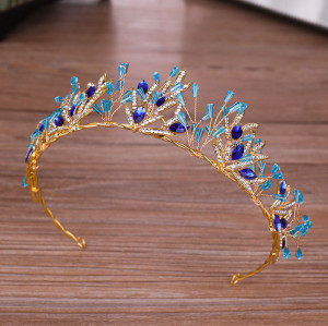 F-0644* Trend Golden ladies Hair Band with Acrylic Rhinestone Bridal Headdress Wedding Hair Accessories