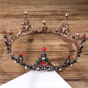 F-0549 * Baroque Vintage High-end Round Crown Bridal Jewelry Boutique Headdress Red Crystal Crown