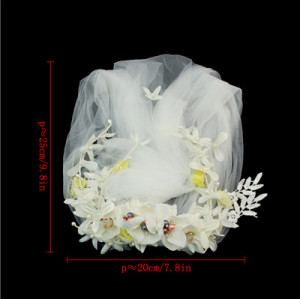 F-0401 * Fashion Wedding Bridal Headdress Flowers And Leaves Hand-Woven Wedding Veil