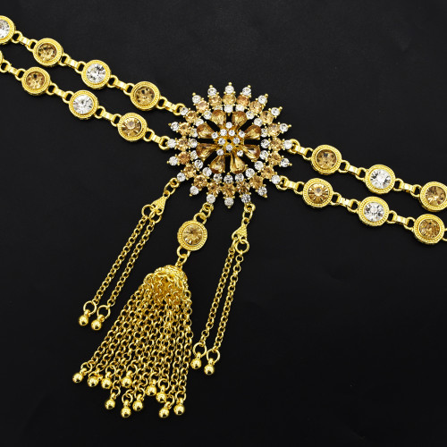 N-7129 * Gold Metal Crystal Long Tassel Belly Chains for Women Bohemian Fashion Body Jewelry