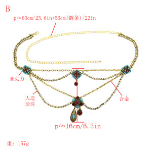 N-7131*New fashion ethnic style retro waist chain beach leisure street shooting body chain waist