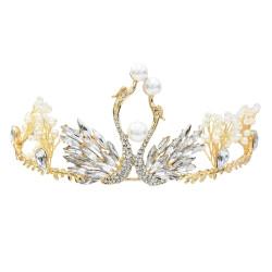 F-0626 * Trendy Swan rhinestone crown bride bridesmaid wedding headdress elegant temperament headband hair accessories
