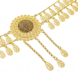 N-7252 * Summer Sale Long Gold Waist Chain Round Gold Belly Dance Waist Chain Lady Pendant Dance Accessories