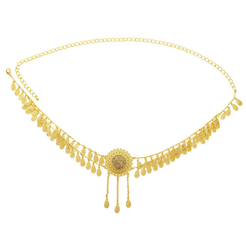 N-7252 * Summer Sale Long Gold Waist Chain Round Gold Belly Dance Waist Chain Lady Pendant Dance Accessories