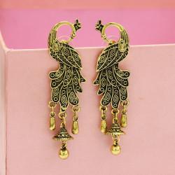 E-5159 Palace Retro Ethnic Wind Peacock Bell Earrings Baroque Hollow Water Drop Tassel Earrings