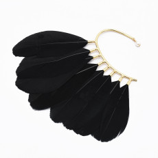 E-4953-WH E-4953-BK * Black White Feather Cuff Earrings for Women Clip on Earring Party Jewelry