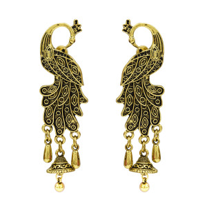 E-5159 Palace Retro Ethnic Wind Peacock Bell Earrings Baroque Hollow Water Drop Tassel Earrings