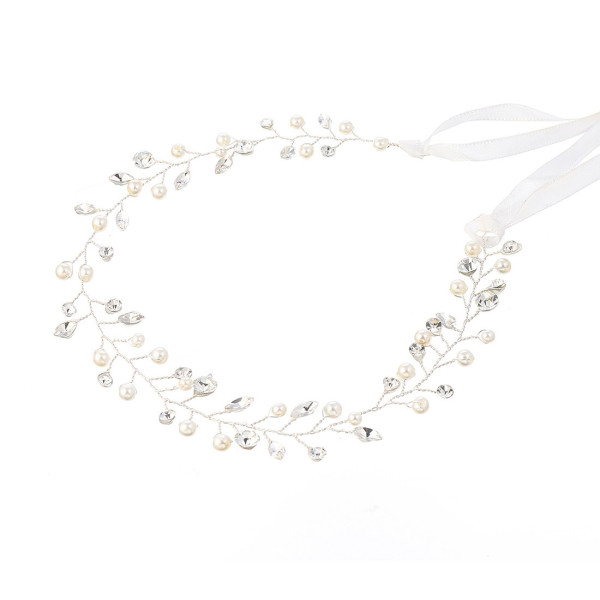 F-0552 * T2020 New Handmade copper Wire Bridal Crystal With Rice Beads Headdress For Woman Charm Jewelry