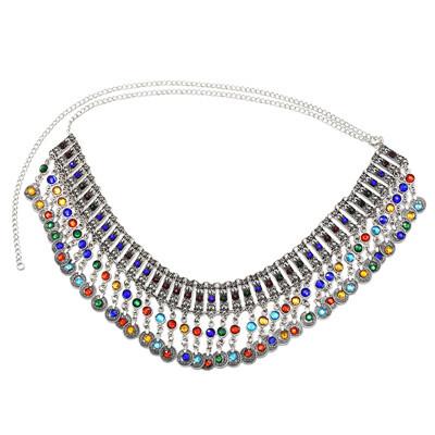 N-7239 *Boho ethnic style fashion dance chain retro coin pendant belly dance waist chain color rhinestones random