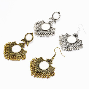 E-4981 * New Trendy Vintage Europe And America Ethnic Gold Silver Mirror Earrings for Women Jewelry