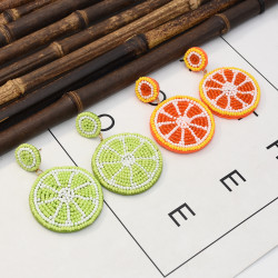 E-5364 Bohemian colored fruit beaded earrings ladies bead earring trend trendy beach accessories.