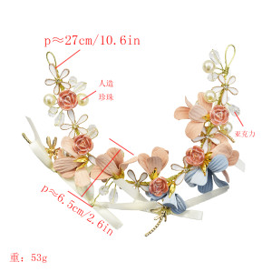 F-0610 Fashion new flower bow bride headdress wedding photography hand-woven hair accessories hair band