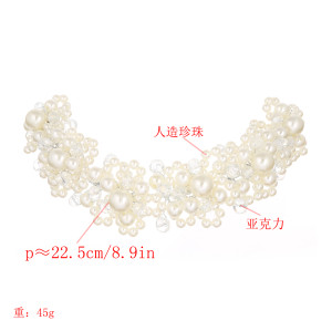 F-0536*Wedding headdress crystal handmade beaded bride imitation pearl flower shape hair accessories