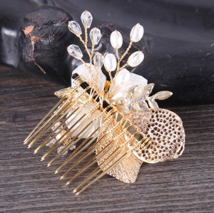 F-0572 * 2020 New Trendy Gold Color Leaf Hair Comb Bridal Headwear Insert Comb Accessories
