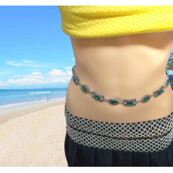 N-6983 European and American new fashion dance waist chain diamond belly dance beach leisure body chain.