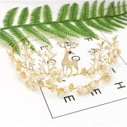 F-0633 Fashion New Headband Forest Fawn Hair Accessories Pearl Rhinestone Wild Headwear