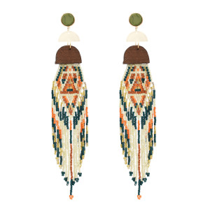 E-4937 Bohemian Bead Tassel Drop Earrings for Women Wedding Fringed Statement Earrings Party Gifts