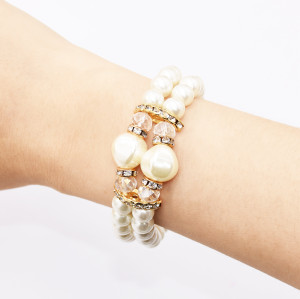 B-0966* Fashion Imitation Pearl Bracelet Double Bracelet Trendy Women's Accessories