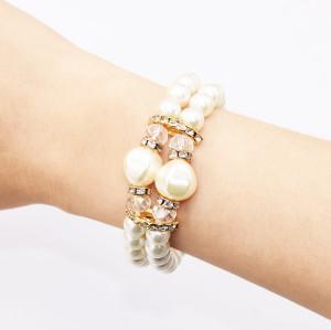 B-0966* Fashion Imitation Pearl Bracelet Double Bracelet Trendy Women's Accessories