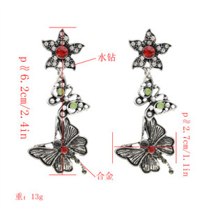E-4967 New Fashion Retro Butterfly Earrings Ethnic Style Popular Street Shoot Earrings Earrings