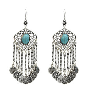 E-5302 European and American national style turquoise hollow tassel earrings Hot explosion models wild alloy earrings