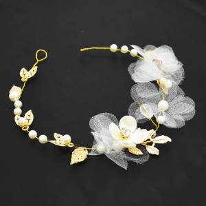 F-0525 Fashion Elegant Pearl Flower Leaf Headbands Bridal Headpiece Crowns Wedding Hair Accessories